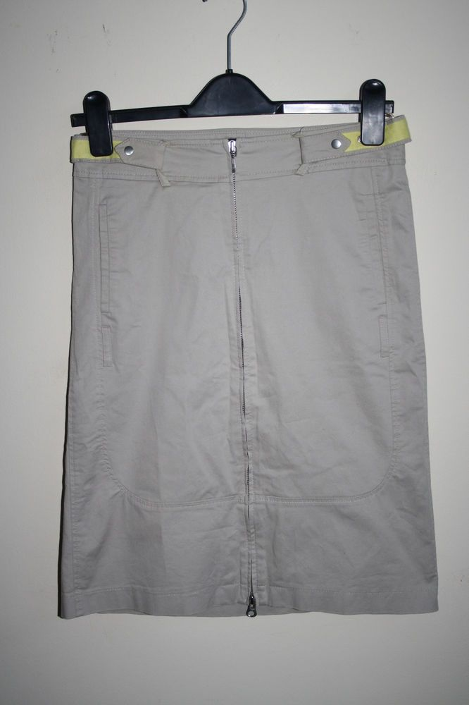 Mexx Fashion Designer Woman's Denim Zip Up Cargo Skirt Grey Belt Cotton B Size 8…