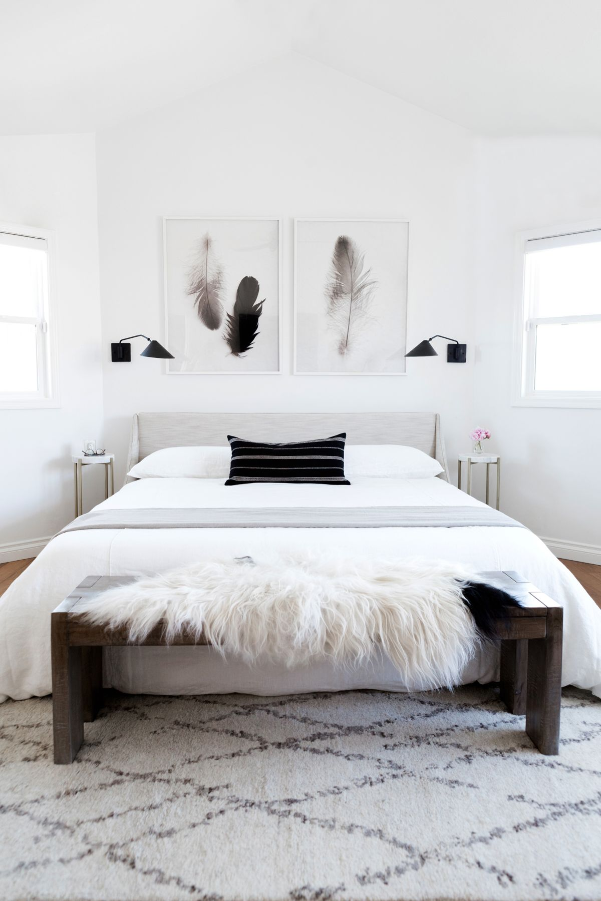 in white bedroom and home black minimal bed renovation