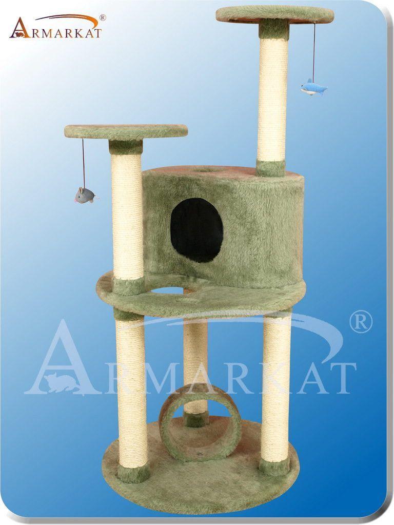 """Armarkat X6001 Ultra-Thick Faux Fur Pressed Wood 3.5"""" Diameter Post Cat Tree 33"""" L x 25"""" W x 60"""" H - Dark Seagreen"""