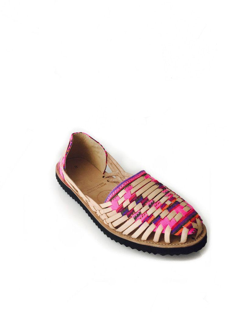 0c55201cb0900 Women s Neon Pink Mayan Woven Leather Huarache Sandals