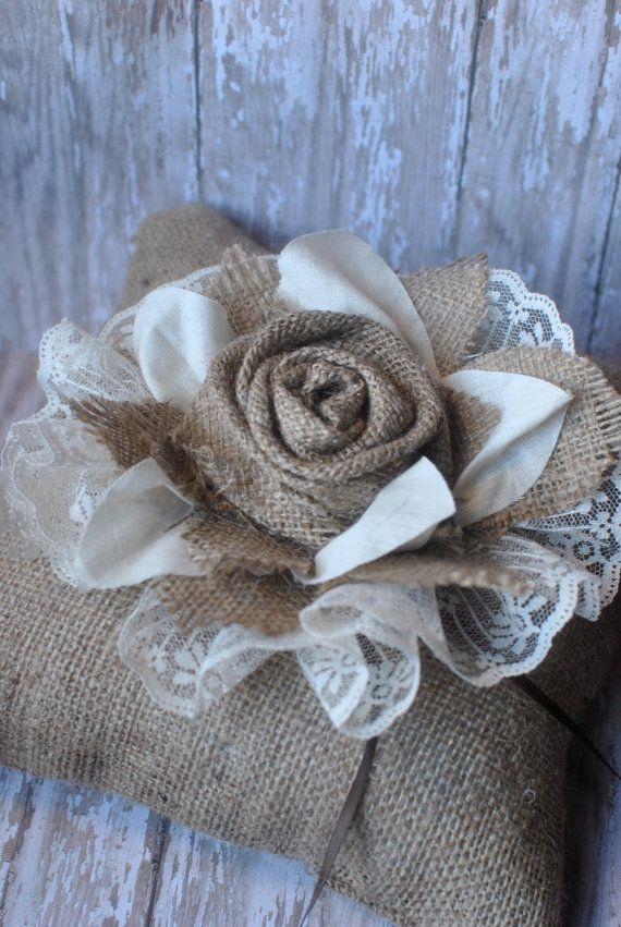 Burlap and lace ring bearer pillow | Burlap | Pinterest | Ringkissen ...