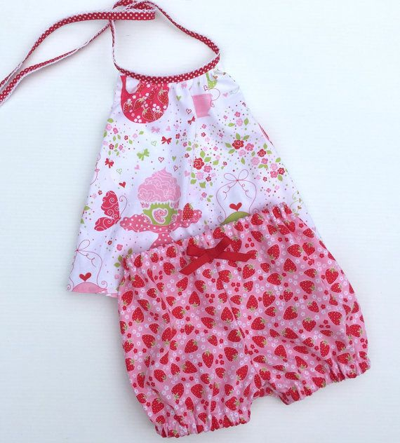 Baby Clothes Strawberry Tea Party Halter Neck Top Baby Bloomer