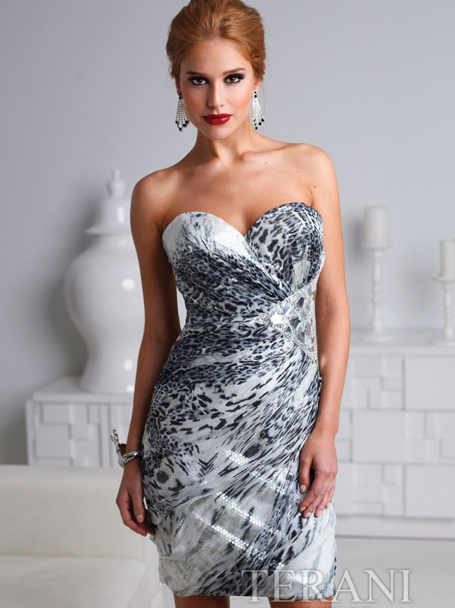 Strapless Gray Leopard Cocktail Dress By Terani Get Yours At