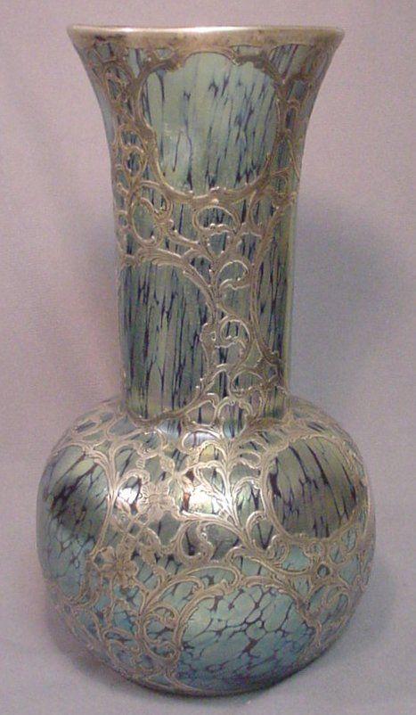 Monumental 19th C Loetz Silver Overlay Papillon Vase A Glass