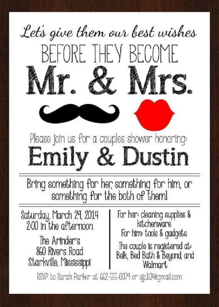 Co Ed Bridal Shower Invitation Wording Couples Wedding Shower