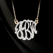 Jane Basch Freeform Diamond Lace Monogram Necklace