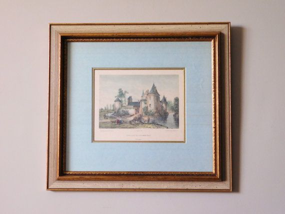 French Chateau Framed Lithograph Chateau de by LittleDixieVintage