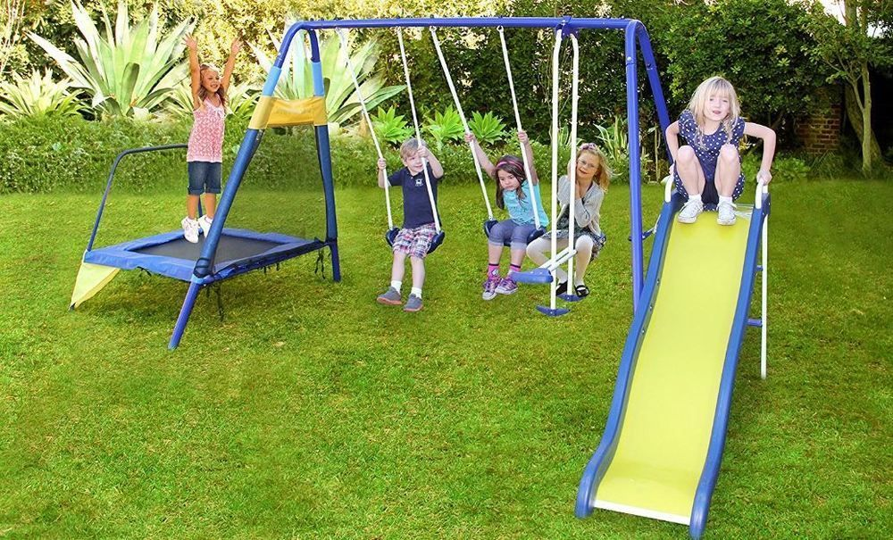 Play Park Metal Swing Set Playground Outdoor Slide Kids