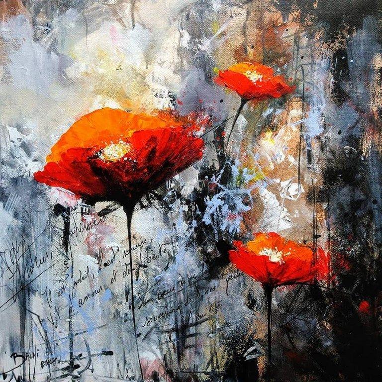 Coquelicots moderne ©Bruni Eric | Coquelicots peinture, Comment peindre,  Peintures de fleurs abstraites