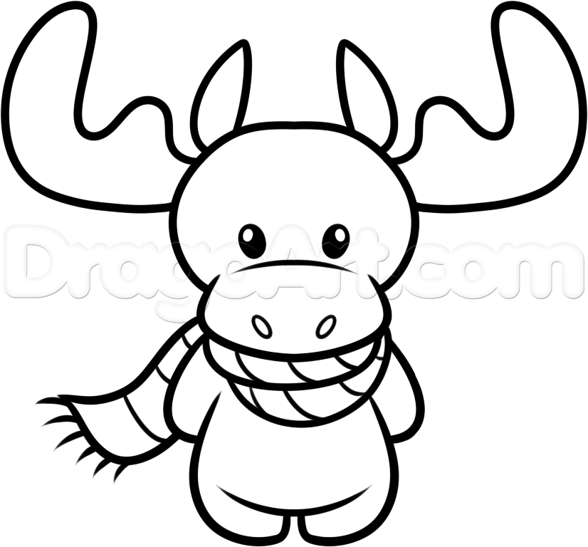 how to draw a christmas moose step 6 Cara de unicornio