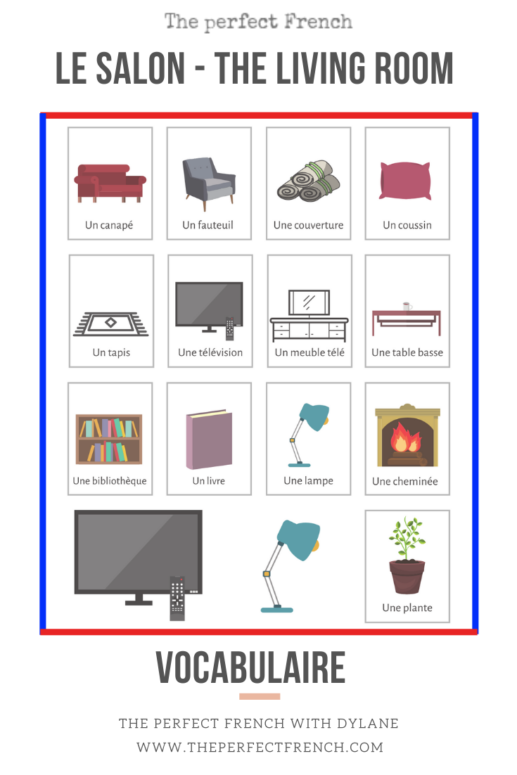 French vocabulary exercise - The living room - Le salon in 9