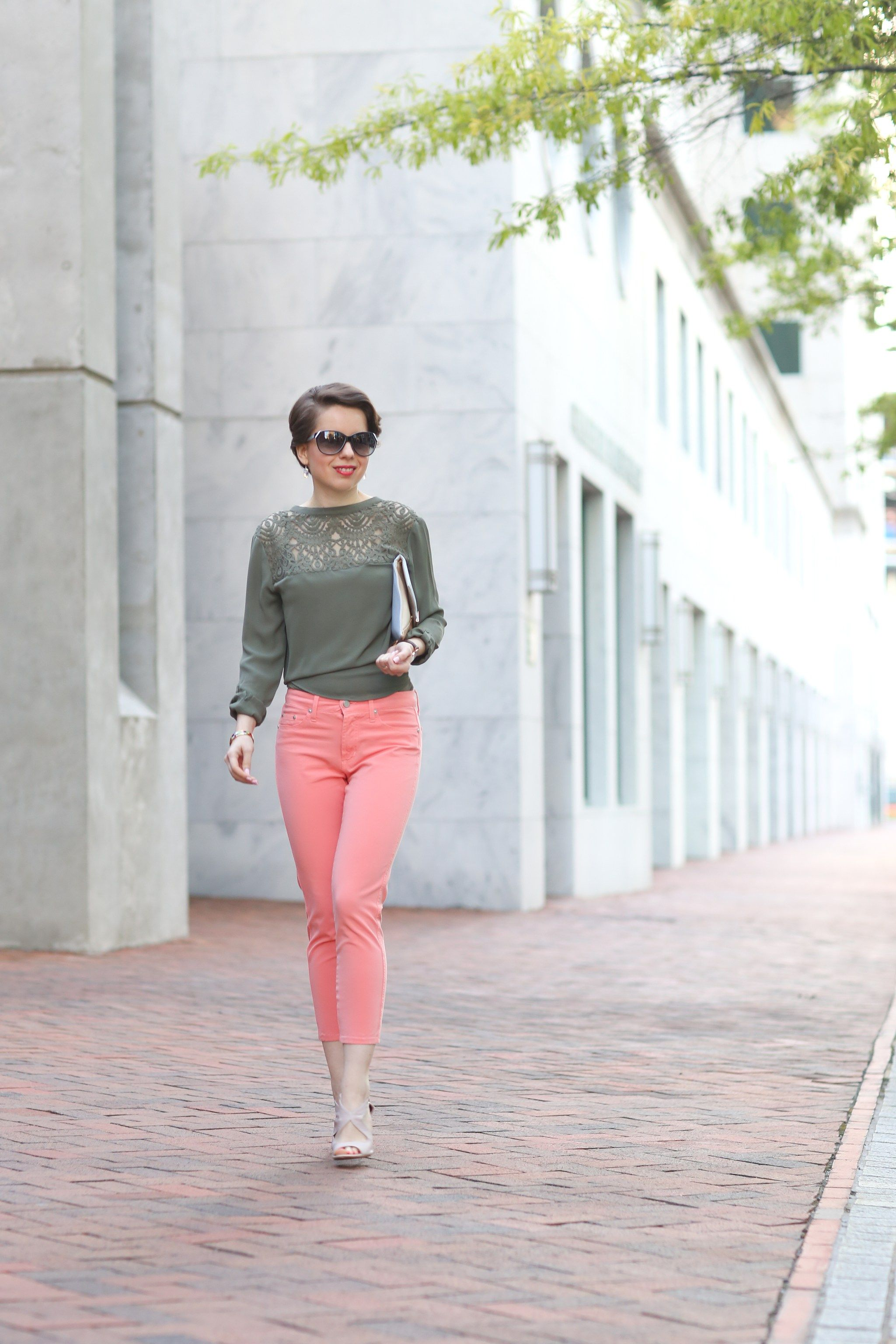 backwards - olive lace shirt x cropped jeans, heelusions REDRETICULE fashion blog for women over 30