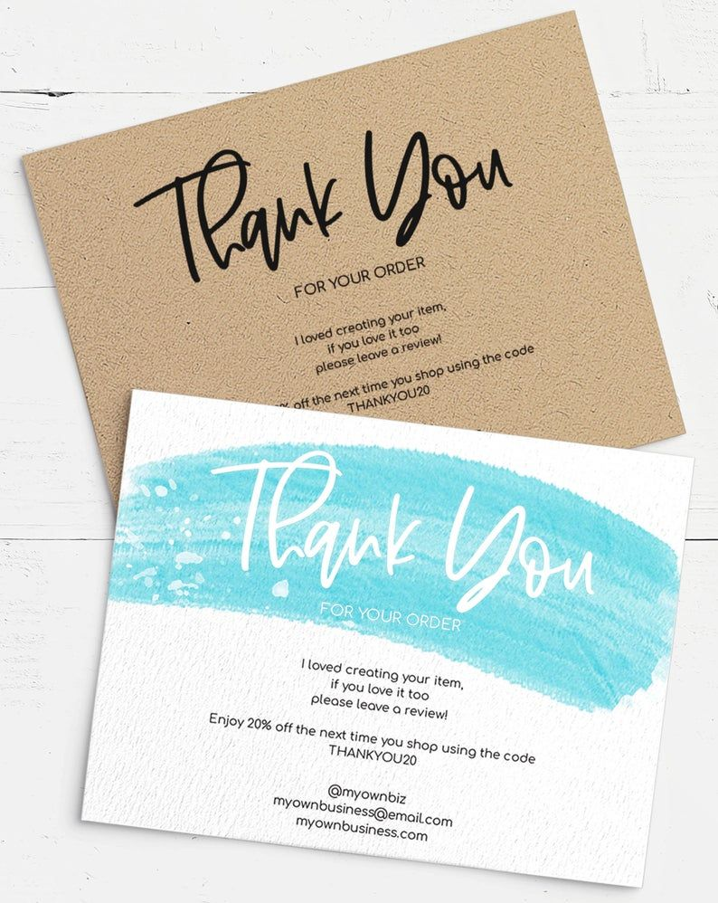 Thank You For Your Purchase Printable Download Edit Print Etsy Online Printing Companies Business Card Template Business Thank You Cards