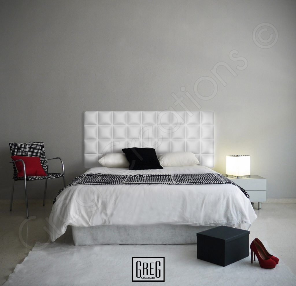 dormitorio con cabecero tapizado blanco de la serie chocolate