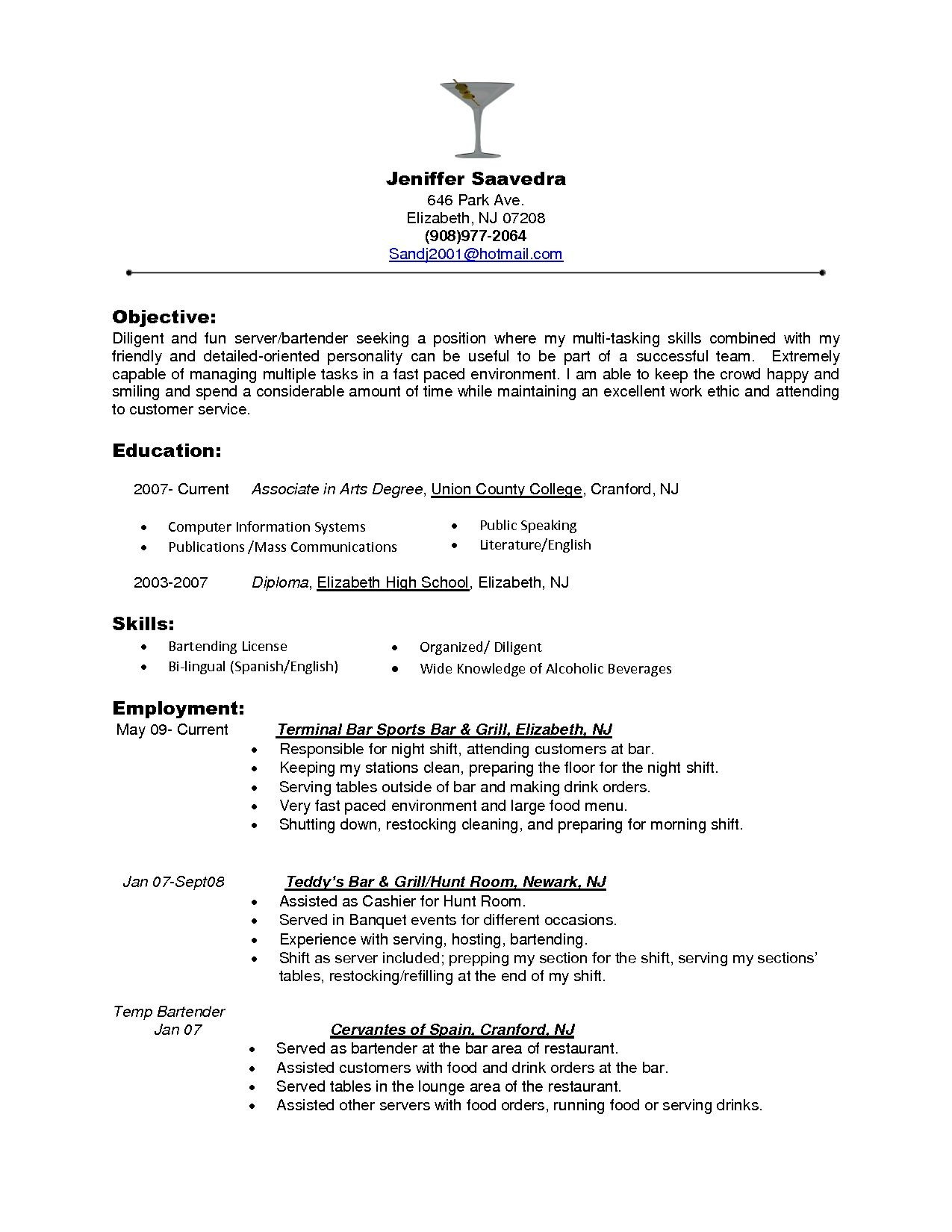 Bartender Objectives Resume Server Resume Job Resume Samples