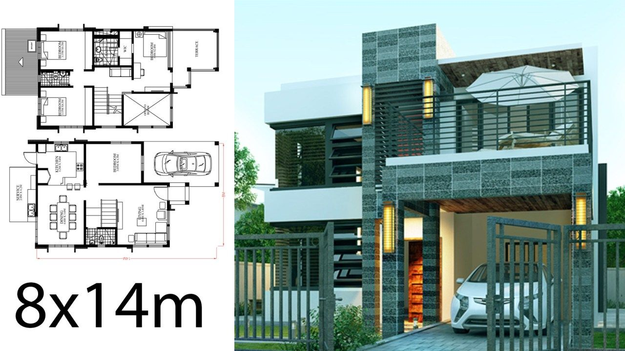 Home Design Plan 8x14m With 4 Bedrooms Home Ideas Home Design Plan House Design Architectural House Plans