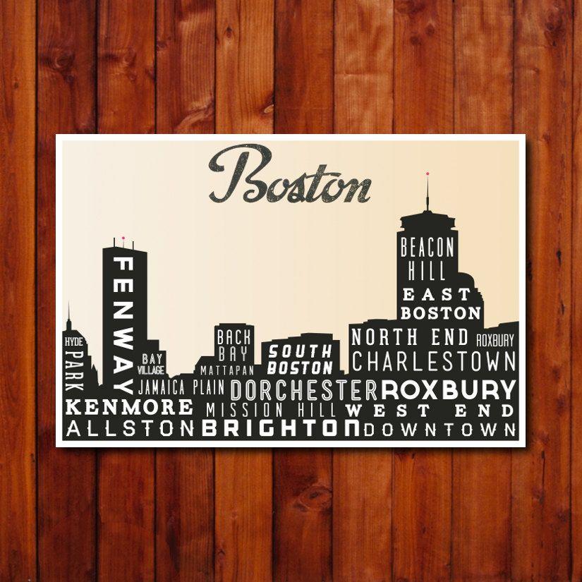 Home Decor Boston: Boston Skyline Print, Typography Poster, Retro Wall Art