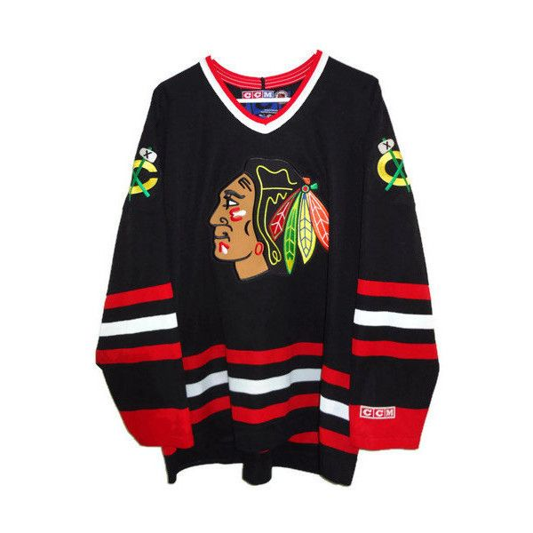 Vintage Chicago Blackhawks Hockey Jersey Ccm Made In Canada Xxl 59 Liked On Polyvore Fe Chicago Blackhawks Hockey Blackhawks Hockey Hockey Jersey