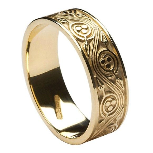 Triscele Weave Yellow Gold Wedding Band Celtic Wedding Rings