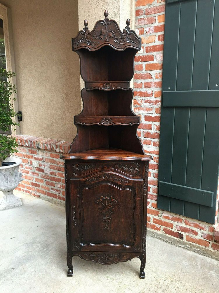 Antique French Country Carved Dark Oak Corner Cabinet Display