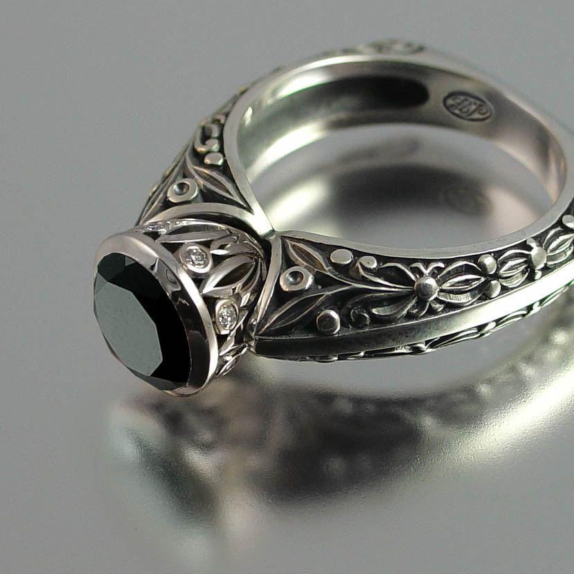 THE COUNTESS 14K engagement Black Diamond ring Etsy.