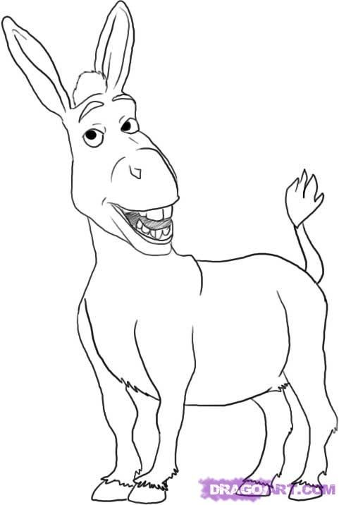 How To Draw Donkey From Shrek Step By Step Cartoons Cartoons Draw Cartoon Characters Free Onlin Cartoon Coloring Pages Shrek Drawing Animal Coloring Pages