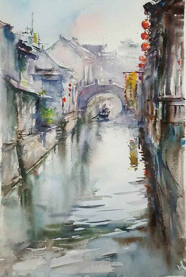 "Shang Li, Old town of LuZhi, China. Watercolor on paper, 12""x16""."