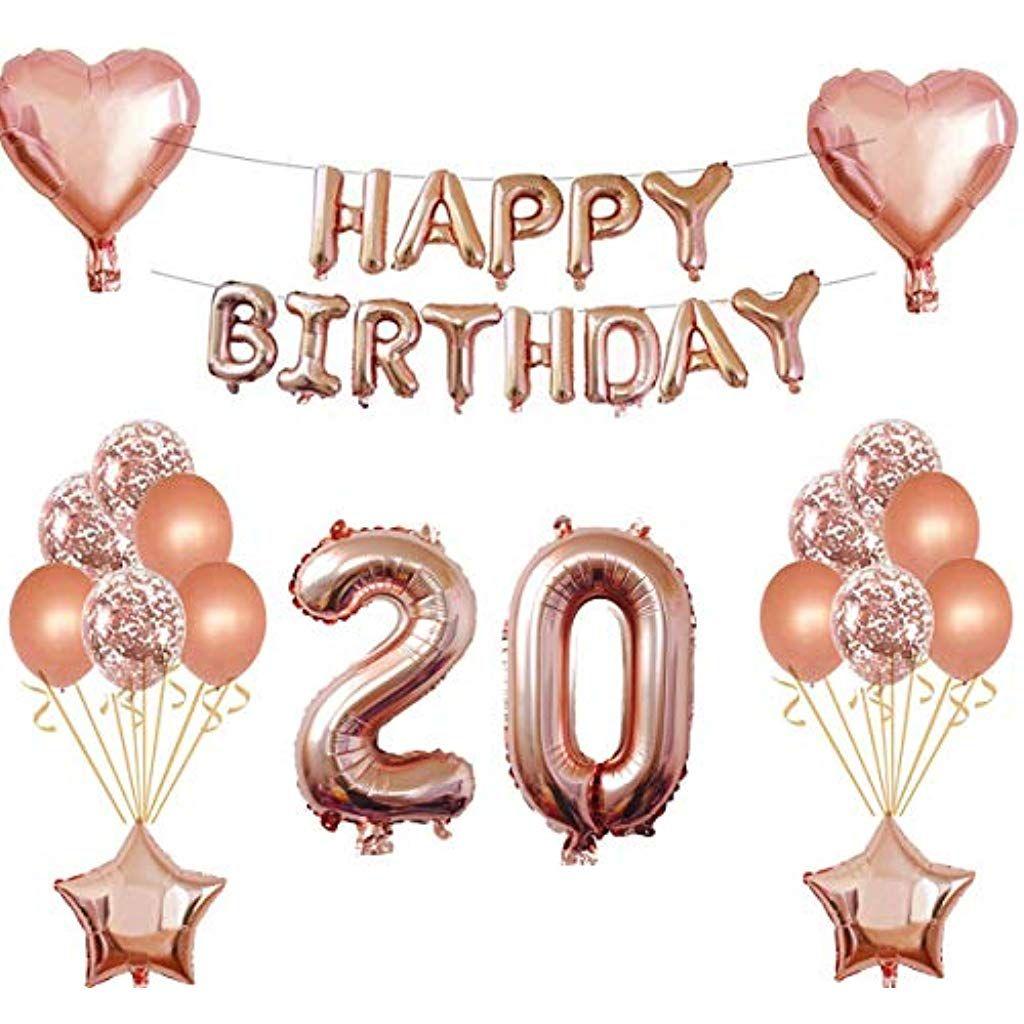 Oumezon 20 Geburtstag Madchen Dekoration Rose Gold 20 Geburtstag