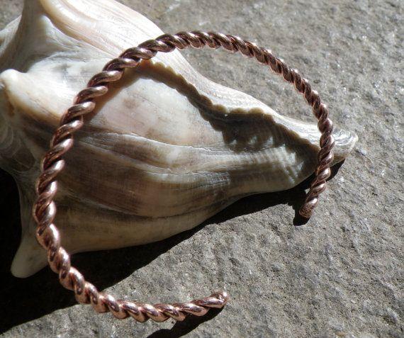Twisted Copper Bracelet by silversunstudiobiz on Etsy, sold
