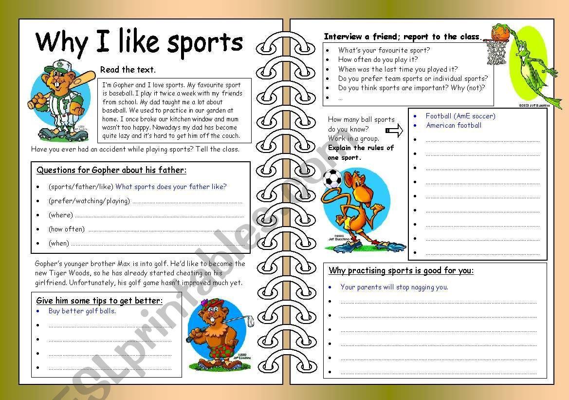 Four Skills Worksheet Why I like Sports ESL worksheet