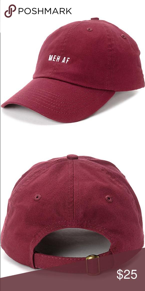 063099d61 Meh AF Maroon Burgundy Red Baseball Cap Dad Hat This item is brand ...