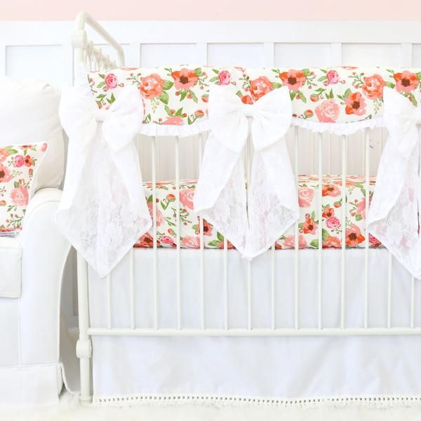 Floral Nursery Bedding Mesmerizing Maya's White And Coral Floral Bumperless Crib Bedding  Crib Skirts Decorating Inspiration