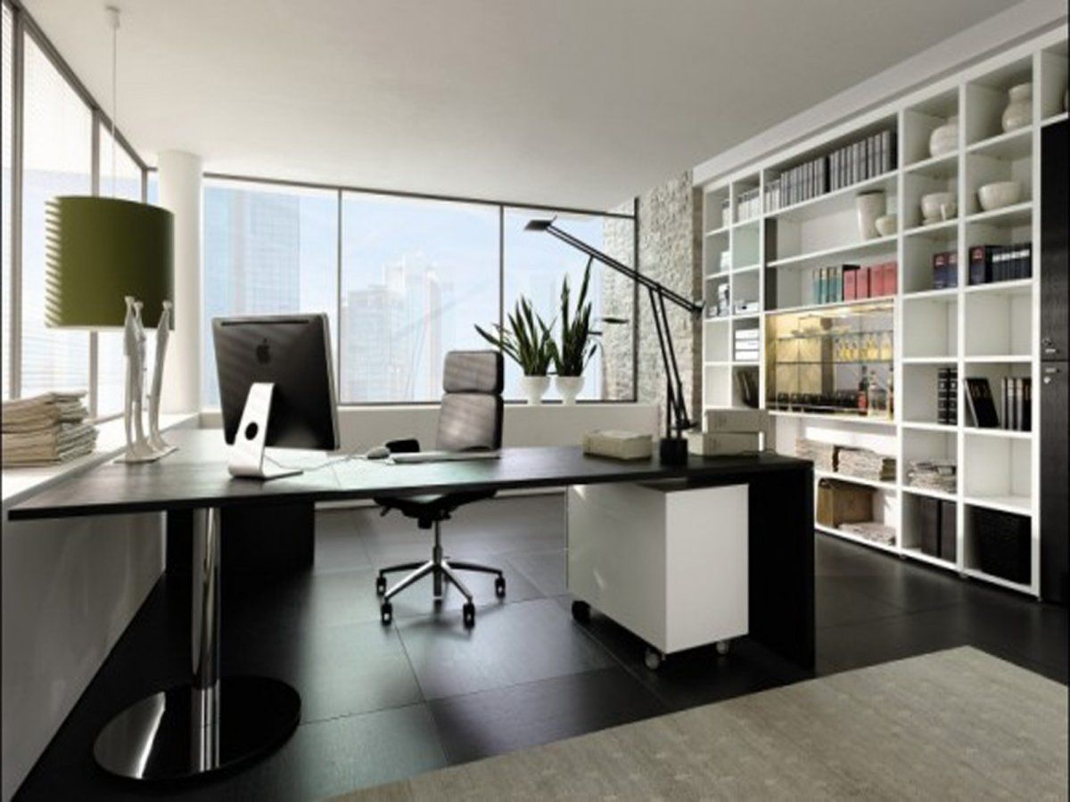 Modern Futuristic Home Office Interior wit iMac Desk and large ...