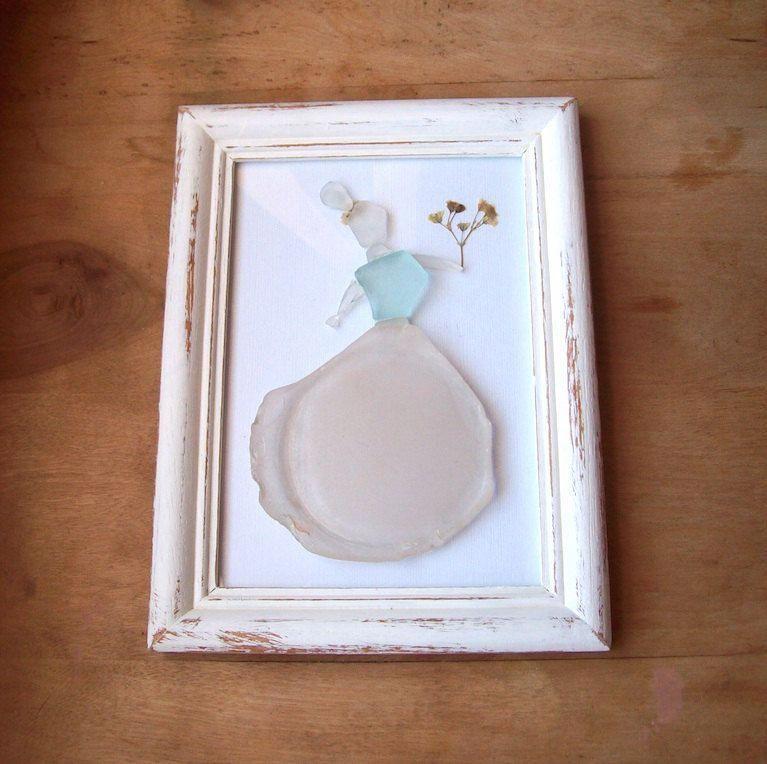 Sea glass art// Formal dress// Beach wedding gift// Dried