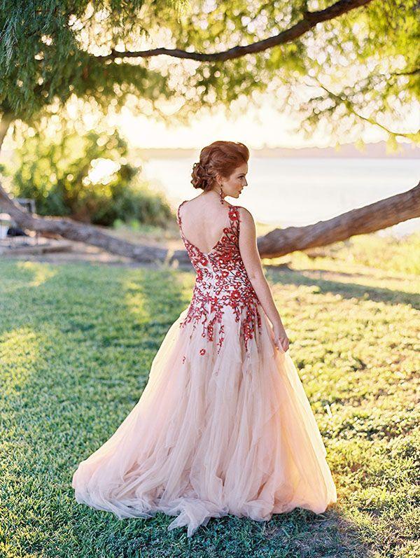 Red Floral Bridesmaid Dresses