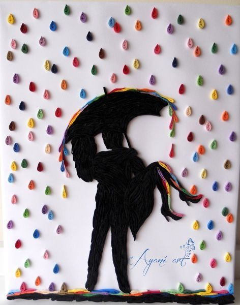 NOTE:  Inspired & Love how color is placed wherever the rain falls.  <3 …with silhouette / Gotta try the DIY on imgfave