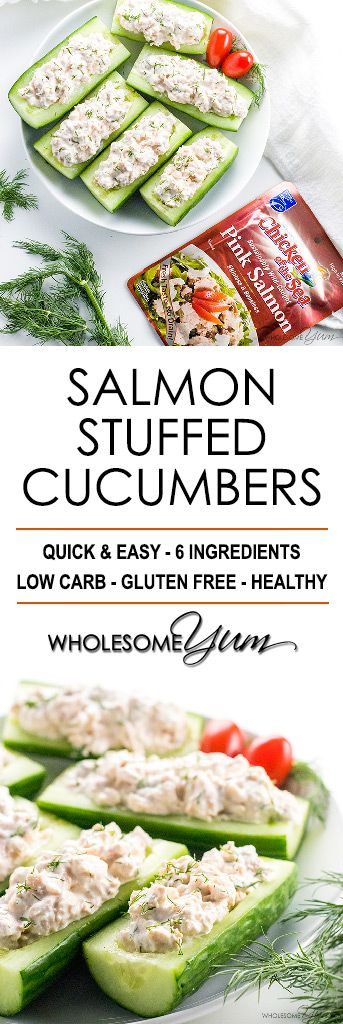 Salmon Stuffed Cucumbers Appetizers With Cream Cheese