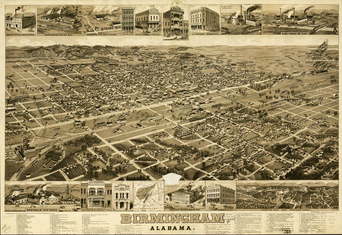1885 map of Birmingham, Alabama | Birmingham, The Magic City ...
