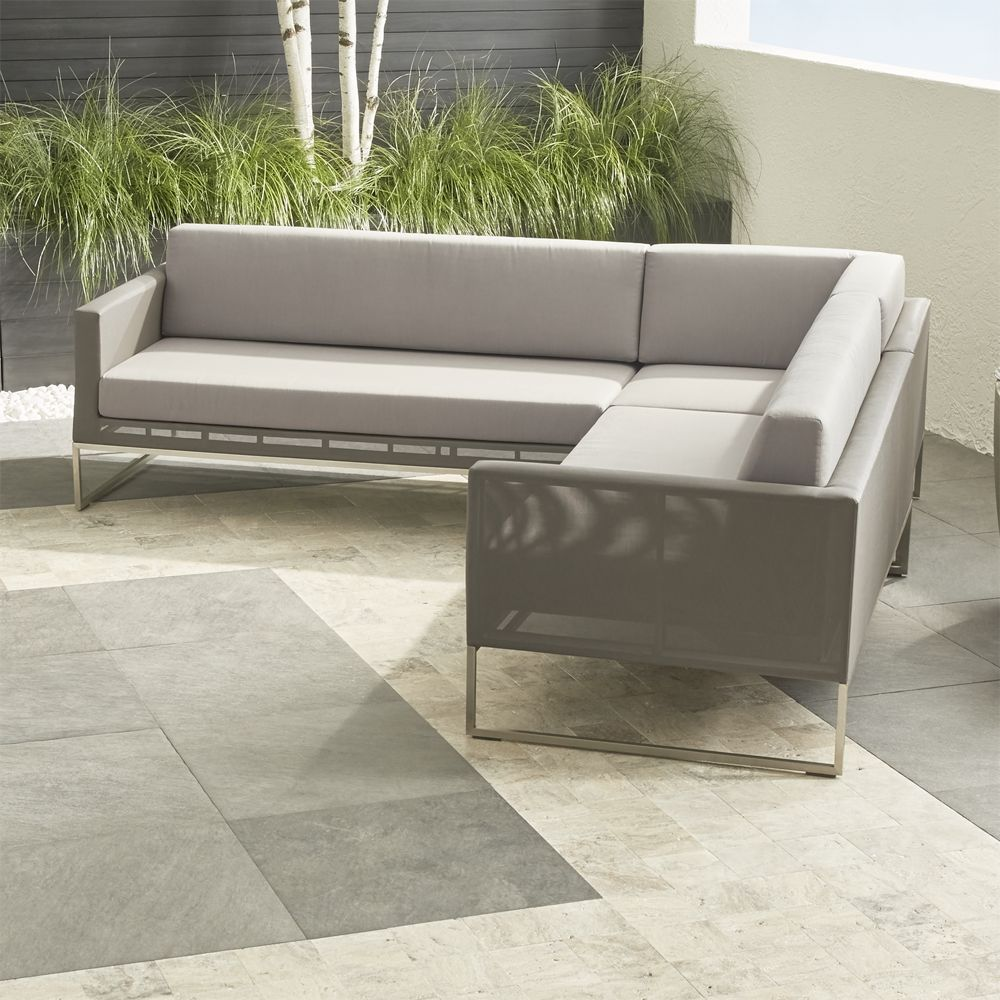 Dune 3 piece sectional sofa with sunbrella cushions crate and barrel