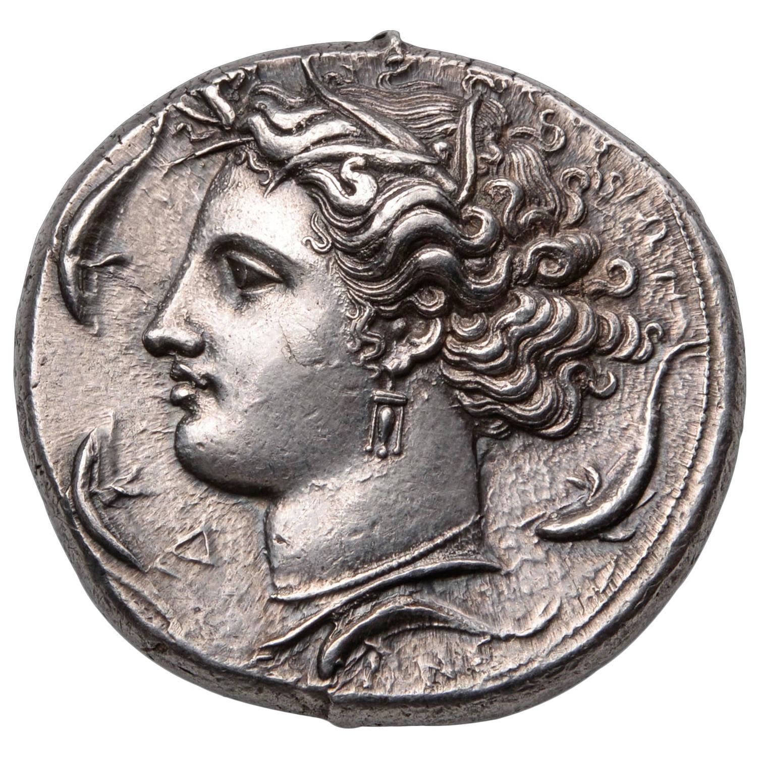 Ancient Greek Silver Decadrachm Coin by Euainetos of Syracuse, 400