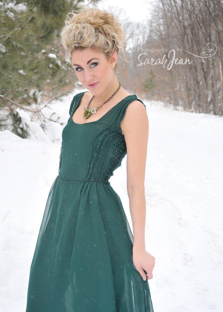 Emerald Chiffon Dress
