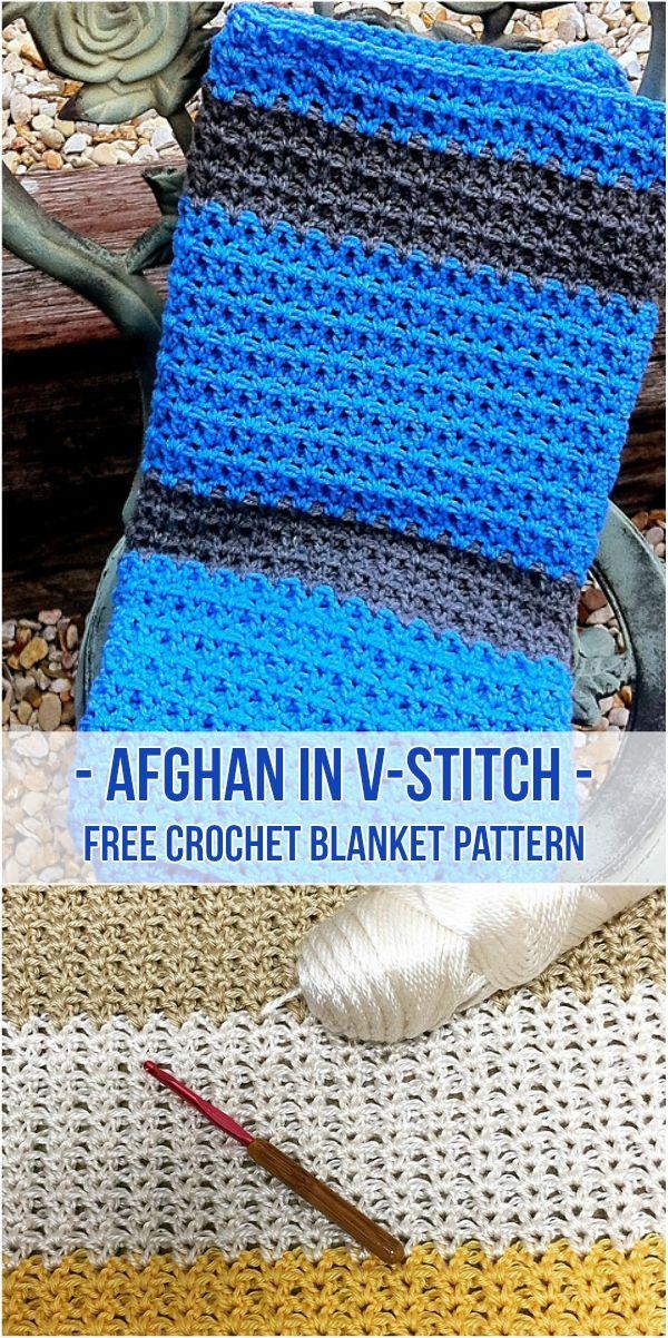 Free Pattern Crocheted Afghan In V Stitch Crochet Stitch