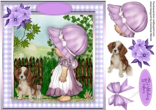 A lovely card with a little girl wondering where her dog has been has one greeting tag and  a blank one ,