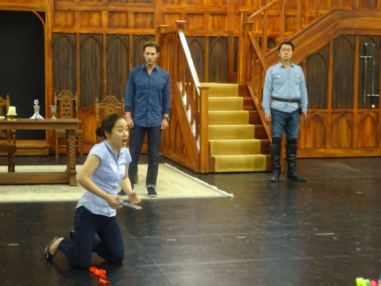Matthew Hanscom (Enrico), Sylvia Lee (Lucia), Colin Ramsey (Raimondo) and Yungbae Yang (Normanno) during rehearsals for Lucia di Lammermoor. Lucia di Lammermoor runs September 10-25.
