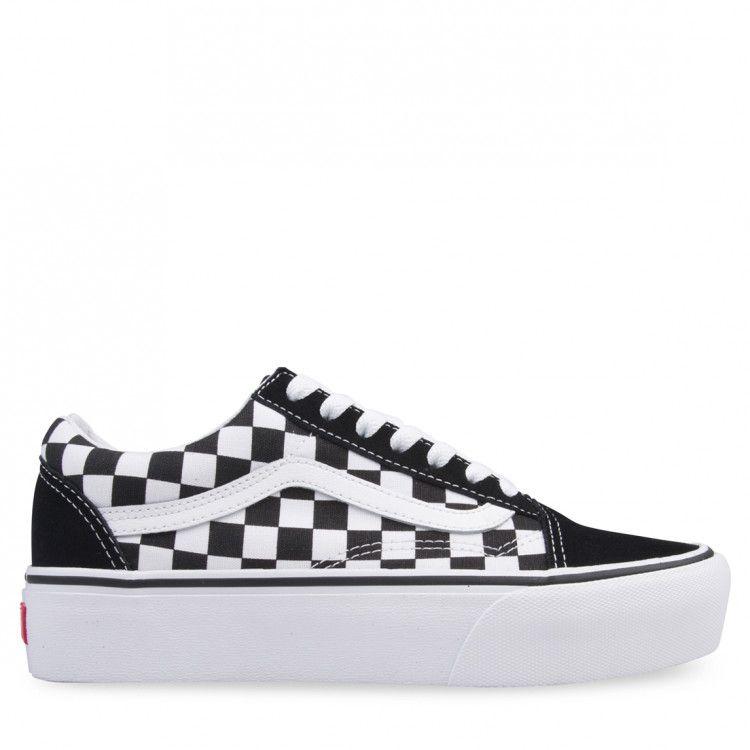 VANS Checkerboard Old Skool Platform Womens Shoes CHECK
