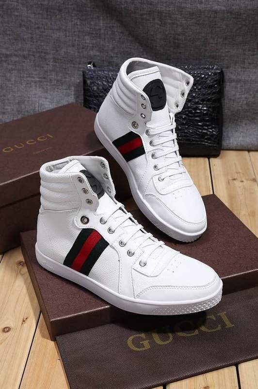 51d83a473 Replica GUCCI white High-Top Sneakers with Web Size 38-44 | 設計師鞋款