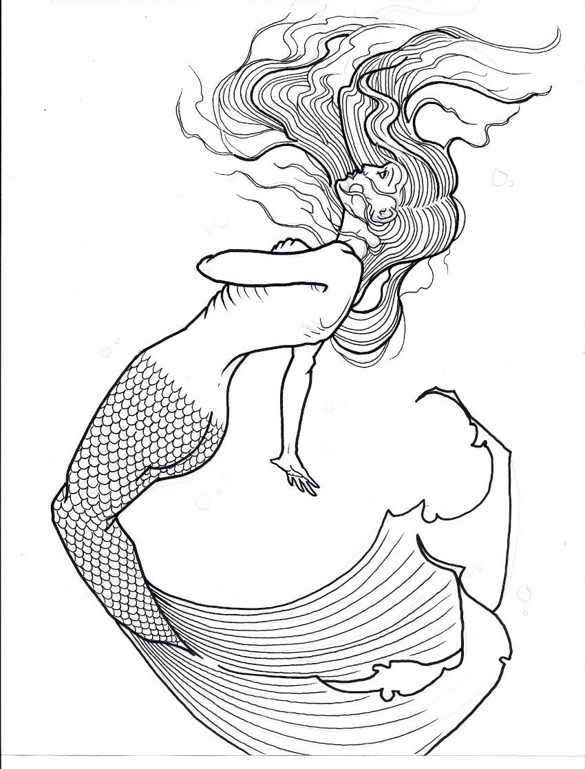 Line Drawing With Watercolor : Mermaid flash by xcjxedge on deviantart mermaids