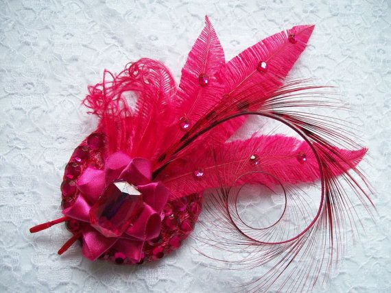 Small Cerise Pink Crystal Mixed Feather Vintage Mini Fascinator Hair Clip