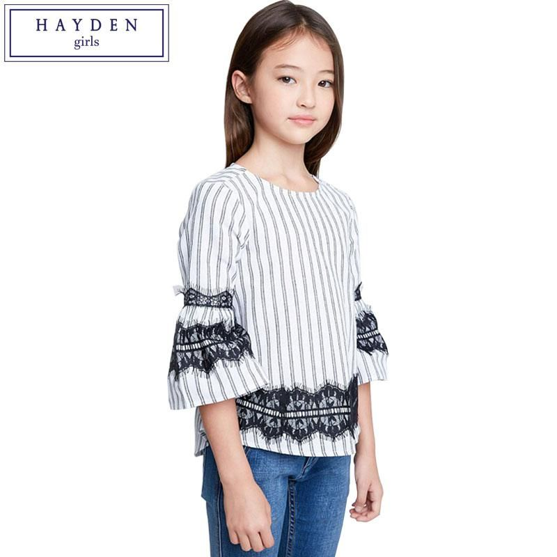 cd80ce1be4c HAYDEN Girls Blouse Cotton Tops for Teenage Girls Vertical Striped Blouses  with Lace Trim 2018 Spring Summer New Brand Clothes. Yesterday s price  US   33.95 ...