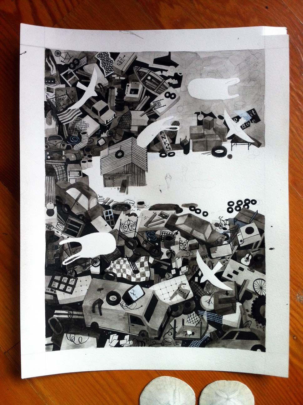garbage, mid-process, by Carson Ellis. Bird's eye, and I like seeing the process